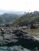 Volcanic rocks at the Owia salt pond
