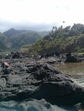 Volcanic rocks at the Owia salt pond