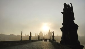 Charles Bridge at sunrise, Prague.