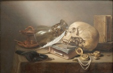 "Pieter Claesz ""A Vanitas Still Life with Skull, Books, Römer, Oil Lamp and Pen."" Photo courtesy of Montreal Museum of Fine Arts."
