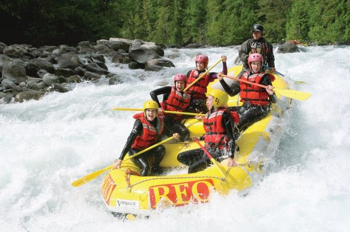 Pump up your adrenaline and go whitewater rafting. (Photo by Dave Heath / Tourism BC.)