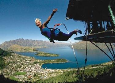 The infamous AJ Hackett Bungy jump overlooks the town of Queenstown below.