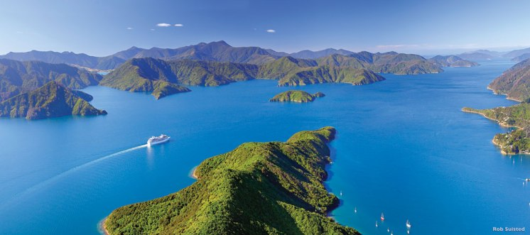 The picturesque Marlborough Sound is an extensive network of sea-drowned valleys at the north end of South Island.