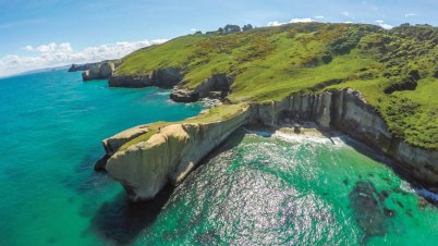Tunnel Beach, located just outside of Dunedin.