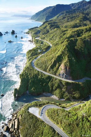 The scenic Great Coast Road on South Island.