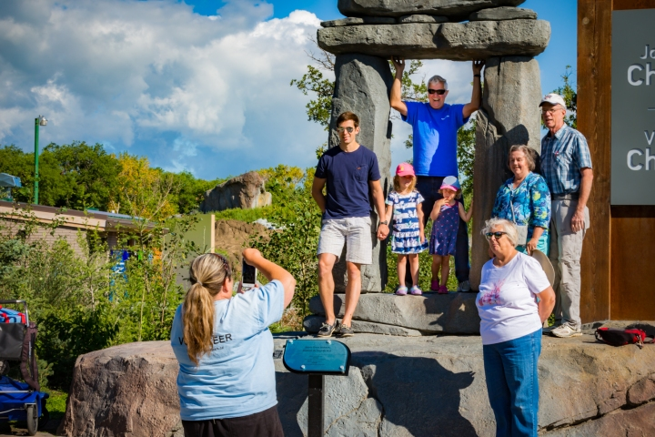 The Inukshuk statues are great for family photos.