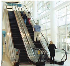 Elevators and escalators are available for passengers.