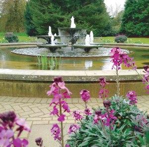 Fountain at Cambridge Botanical Garden.