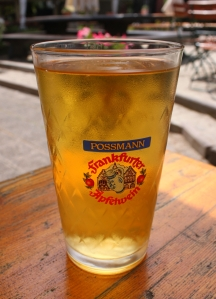 Cider (Apfelwein) is typically served in a ribbed glass.