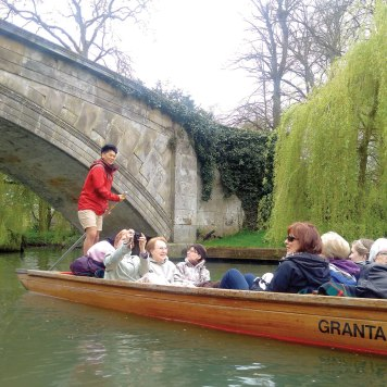 One of the intrepid punters on the Cam River.