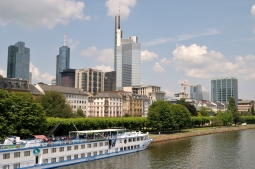 Frankfurt lies on the Main River, a tributary of the Rhine River, and it is the longest river lying entirely in Germany.
