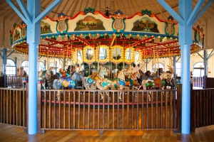 The Merry-Go-Round on the Santa Monica Pier is one of the few surviving all-wooden carousels in the world.