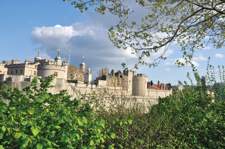 The Tower of London is surrounded by a park.