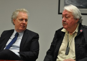 Former Heritage Minister, Jean Charest, and Wayne Helgason at a reunion meeting last year.