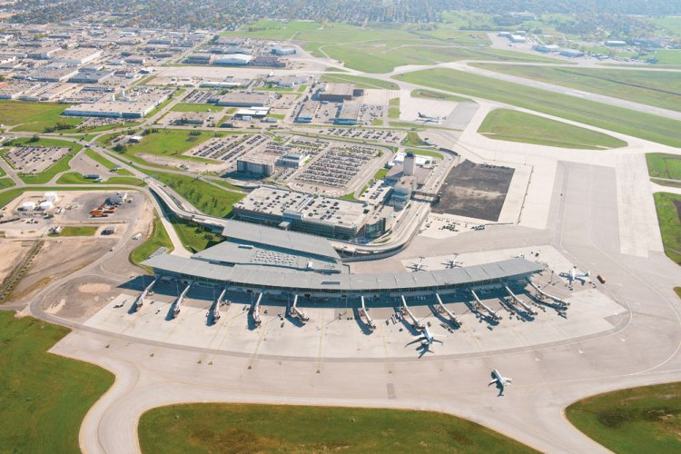 A panoramic overview of the new Winnipeg Richardson International Airport terminal.
