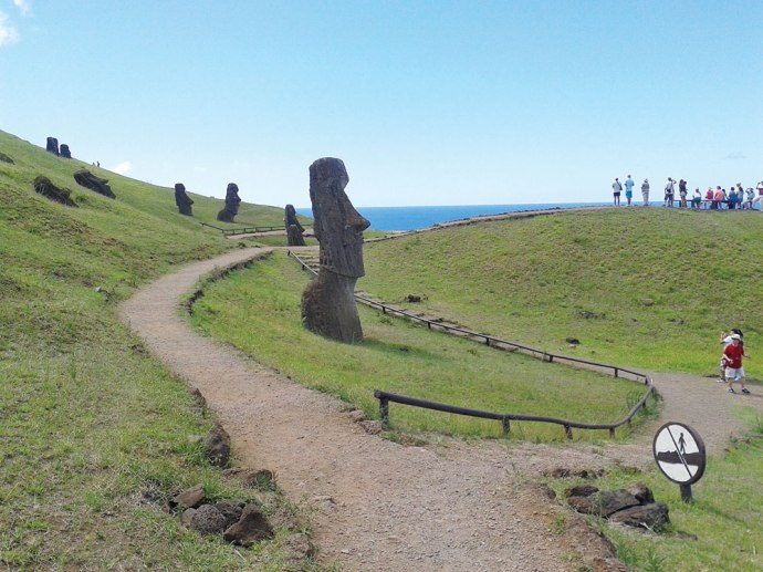 Much of Easter Island has been set aside as the Rapa Nui National Park and is a UNESCO World Heritage Site. Pathways and guide rails have been set up to help preserve its rich history.
