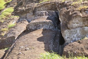 There are hundreds of abandoned maoi in the quarry pit at the Rano Raraku volcanic crater.
