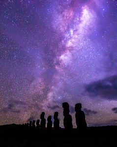 Moai under the Milky Way at Ahu Tongariki, Rapa Nui.