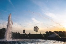 A view of the fountain at sunset.