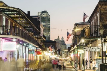 The iconic Bourbon Street.